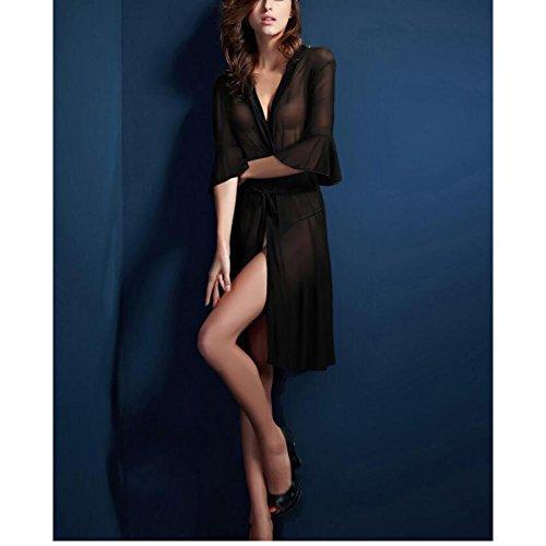 HXQ Albornoz de las mujeres pijamas extremadamente seductor largos de los pijamas del traje transparente , black Black