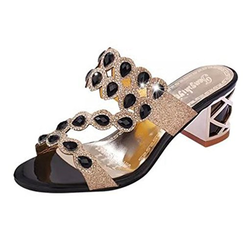 Moda Mujeres Rhinestone Cuñas Plataforma Sandalias Dedo del pie Abierto Anti-Slip Bloque Talón Glitter Zapatos de Boda Negro