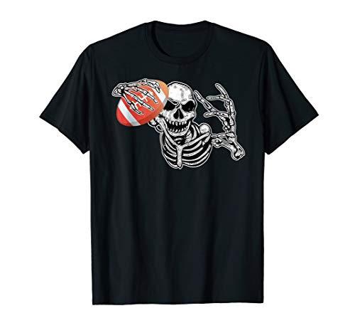 Halloween Skeleton Football Player Skull Hands Tshirt -