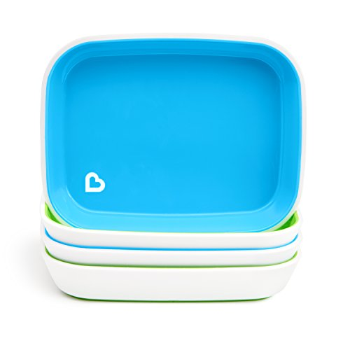 Munchkin Splash 4 Piece Toddler Plates, Blue/Green