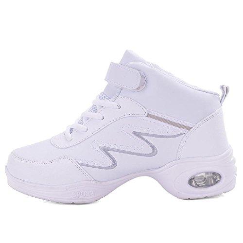 D2c Schoonheid Dames Moderne Jazzdans Schoen Sport Pu Sneakers Wit