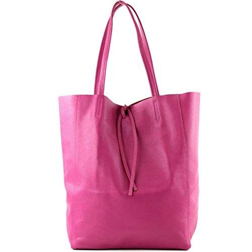 modamoda de - ital. Ledertasche Damentasche Shopper Tasche Groß Schultertasche Leder T163, Präzise Farbe:Lila Pink