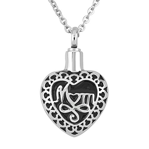 JewelryJo Urn Necklace for Ashes Cremation Keepsake Memorial Letters of Mom Love Heart Pendant for Mom