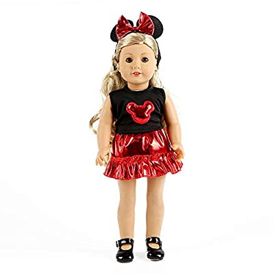 yijing Doll Clothing,3pcs Cartoon Shiny Doll Clothes Accessory for 18 Inch American Toy Girl Doll (Red): Clothing