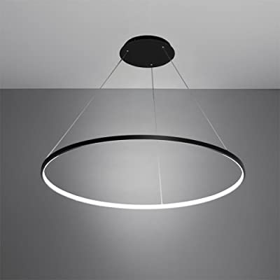 LightInTheBox 30W Pendant Light Modern Design/ LED Ring Lighting Fixture Acrylic Chandeliers for Office Showroom LivingRoom Black Home Color Warm White Source Color