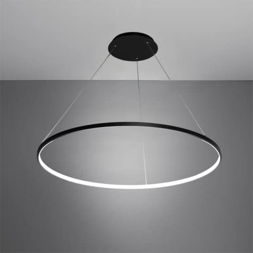 LightInTheBox 30W Pendant Light Modern Design LED Ring Lighting Fixture Acrylic Chandeliers for Office Showroom LivingRoom Black Home Color Warm White Source Color