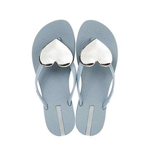 forme CN39 UK6 tongs plat féminin coeur taille Décoration SHI Gris 0 Gris romaine en XIANG bas style de Pantoufles chaussures EU39 Couleur SHOP plage été LI nqOYSB6wz6