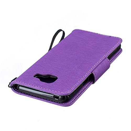Funda Samsung Galaxy S7 edge Case , Ecoway Winnie el patrón de gofrado PU Leather Cuero Suave Cover Con Flip Case TPU Gel Silicona,Cierre Magnético,Función de Soporte,Billetera con Tapa para Tarjetas  púrpura