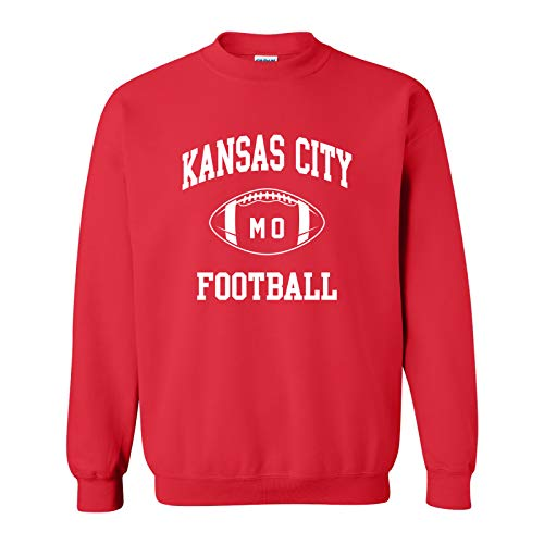 Kansas City Classic Football Arch - Hometown Pride Crew Sweatshirt - Medium - Red