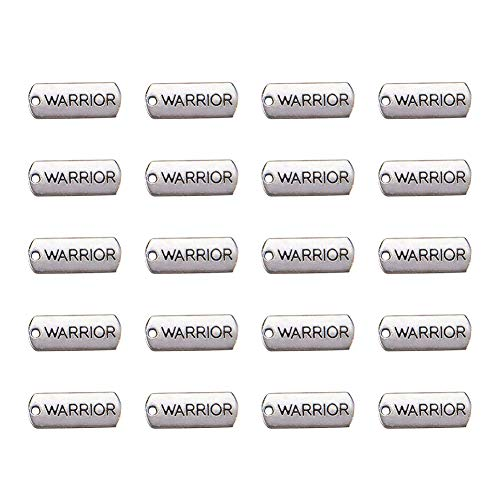 Pandahall 20pcs Tibetan Antique Silver Rectangle with Word Warrior Pendants Cadmium Free & Lead Free Message Necklace Charms Tag Links