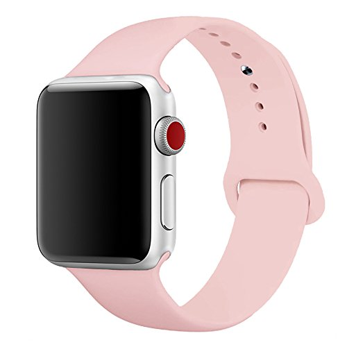 Band for Apple Watch 38mm, SIRUIBO Soft Silicone Sport Strap Replacement Bracelet Wristband for Apple Watch Series 3, Series 2, Series 1, Nike+, Edition, Pink Sand S/M Size