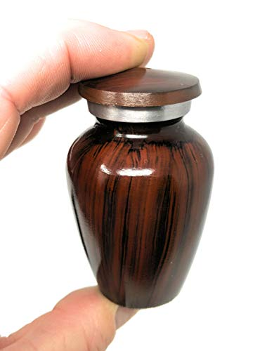Browns Ash Lock - Ara Woodgrain Brown Aluminum Small Mini Metal Keepsake Cremation Urn for Pet or Human Ashes
