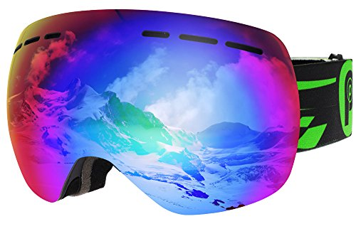 New Ski Skate (Picador Snowmobile Snowboard Skate Ski Goggles with Detachable Dual Layer Anti-Fog Lens for Adults (New Green))