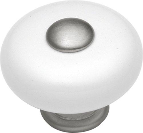 Hickory Hardware P222-SN 1-1/4-Inch Tranquility Cabinet Knob, Satin Nickel (Sn Porcelain Nickel Satin)