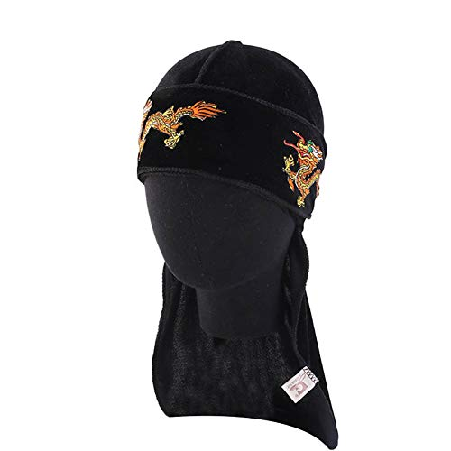 ieasysexy Velvet Durag Cap Long Tail Headwrap Dragon Embroidery Pirate Bandana Head Scarf Stretchable for 360 Waves