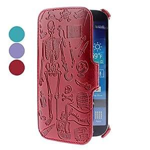 CL - Patrón de cráneo pu funda de cuero para Samsung Galaxy S4 i9500 (colores surtidos) , Rojo