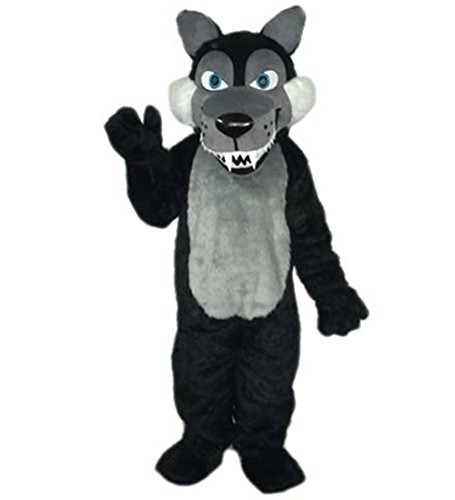 MascotShows Long Plush Black Wolf Mascot Costume Cartoon Dress with Built-in Cooling Fan for Party, Sale Activities, Celebration and Ceremony, Adult Size