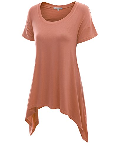 Doublju Basic Short Sleeve Long Asymmetrical Tunic Tops For Women With Plus size INDIPINK SMALL