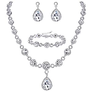 BriLove Women's Fashion Wedding Bride Crystal Infinity Figure 8 Teardrop Y-Necklace Tennis Bracelet Dangle Earrings Set Clear Silver-Tone