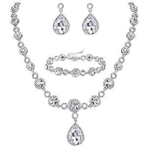 BriLove Women's Fashion Wedding Bride Crystal Infinity Figure 8 Teardrop Y-Necklace Tennis Bracelet Dangle Earrings Set Clear Silver-Tone