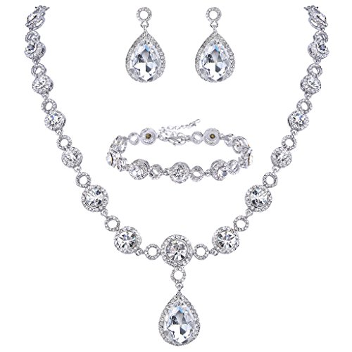 BriLove Women's Fashion Wedding Bride Crystal Infinity Figure 8 Teardrop Y-Necklace Bracelet Earrings Set