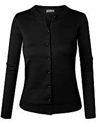 Biadani Women Pearl Button Down Long Sleeve Soft Knit Cardigan Sweater Black X Large