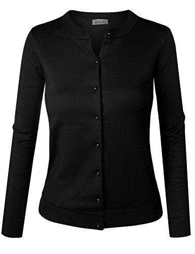BIADANI Women Pearl Button Down Long Sleeve Soft Knit Cardigan Sweater Black Large ()