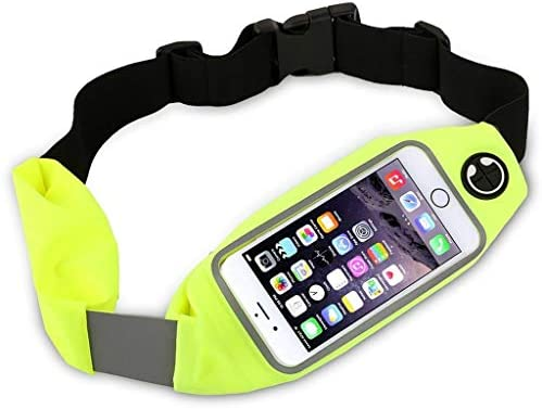 Dual Pocket Running Belt Waist Pack, Weatherproof Sport Bag Pouch – Workout Walk Hiking Cycling – iPhone 8 7 6 6S 5 SE, Android Phone Holder, Clear Touch Screen Window by Boonix Green 4.7