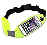 Dual Pocket Running Belt Waist Pack, Weatherproof Sport Bag Pouch - Workout Walk Hiking Cycling - iPhone 8 7 6 6S 5 SE, Android Phone Holder, Clear Touch Screen Window by Boonix [Green 4.7']