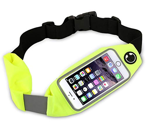 Dual Pocket Running Belt Waist Pack, Weatherproof Sport Bag Pouch - Workout Walk Hiking Cycling - iPhone 8 7 6 6S 5 SE, Android Phone Holder, Clear Touch Screen Window by Boonix [Green 4.7