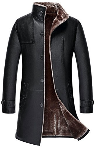 JIAX Mens Classic Winter Warm Sheep Skin Leather Coat Parka Lamb Wool Lined Jacket (US 3X-Large, US/1807 Black) by JIAX (Image #7)'