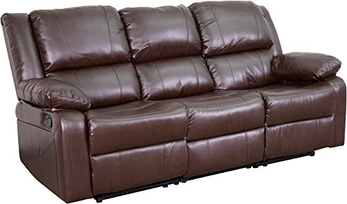 Brown Leather Reclining Sofa - Flash Furniture Harmony Series Brown Leather Sofa with Two Built-In Recliners