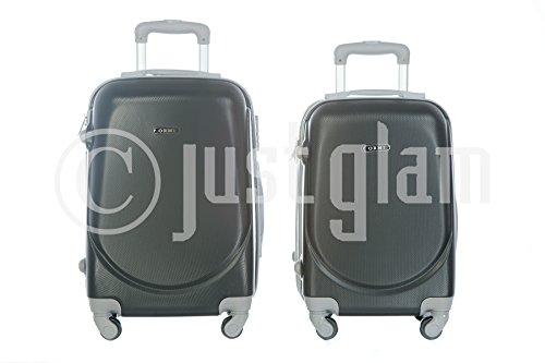 JustGlam - Bagaglio a mano Ormi 2010 Trolley rigido ABS policarbonato 4ruote adatto per voli lowcost/ Nero