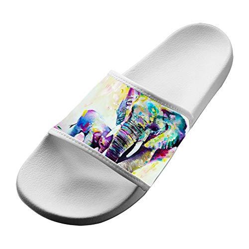 breath of fresh Fashion Abstract Vintage Watercolor African Elephant Art Paintings Women/Men's Slip on Slippers Non-Slip Shower Sandals Bath Slipper Anti-Slip Indoor Home House Sandal
