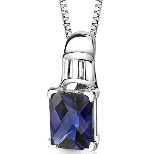 Created Sapphire Pendant (Created Sapphire Pendant Necklace Sterling Silver Rhodium Nickel Finish 2.75 carats Radiant Cut)