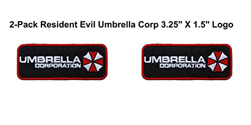 Umbrella Corps Costume ((2-Pack) Resident Evil Umbrella Corp Logo Iron/Sew-On Embroidered 3.25