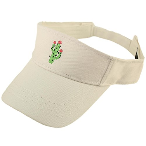 - David & Young Sun Protection Brim 100% Cotton Beach Pool Visor Golf Workout Cap Hat Cactus (White)
