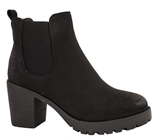 Elara Damen Chelsea Stiefel | Bequeme Stiefelette Profilsohle | Plateau Chelsea Boots Schwarz New