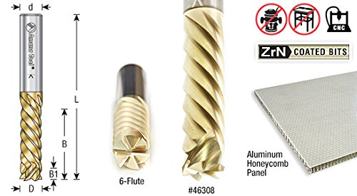 Amana Tool 46308 Solid Carbide ZrN Coated Honeycomb Cardboard Cutting 3//8 D x 1-1//4 CH x 3//8 SHK x 3 Inch Long 6-Flute Router Bit