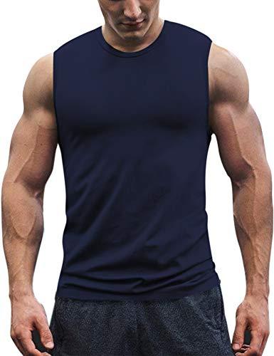 COOFANDY Men's Workout Tank Top Sleeveless Muscle Shirt Cotton Gym Training Bodybuilding Tee Navy Blue