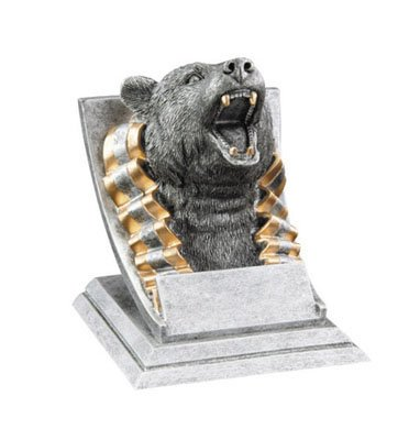 Decade Awards Grizzly Bear Mascot Trophy | Grizzly Bear Award - Silver and Gold | 4 Inch Tall - Customize Now]()