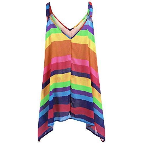 iDWZA Women Striped Pullover Sleeveless Irregular Swing Vest Tank Shirt Tops Blouse Plus (Free Knitting Patterns Baby Poncho)