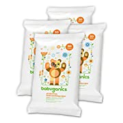 Babyganics Alcohol-Free Hand Sanitizing Wipes, Mandarin, On-The-Go, 20 count reseal pack (Pack of 4), Packaging May Vary