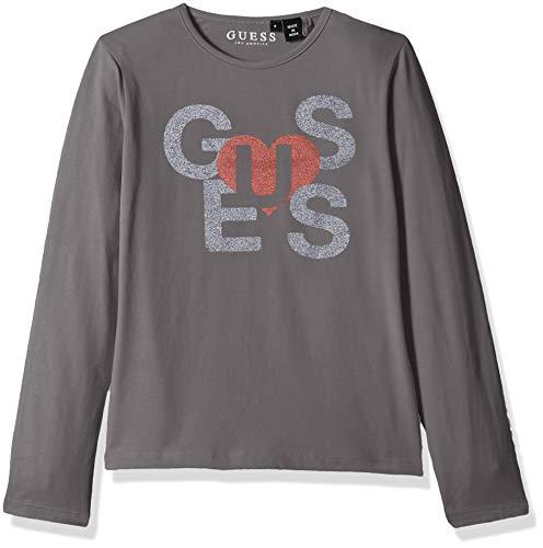GUESS Girls' Big Long Sleeve Heart Graphic Logo T-Shirt, Tuxedo Grey, 14 ()