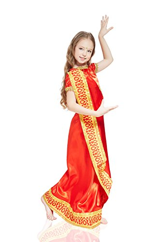 India Saree (Kids Girls Bollywood Halloween Costume Hindu Goddess Saree Dress Up & Role Play (6-8 Years, Orange Red))