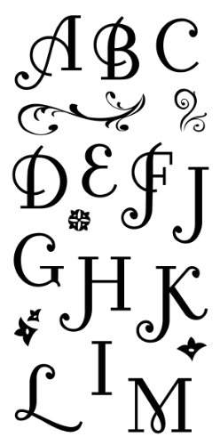 Inkadinkado Flourish Alphabet Clear Stamp Set for Arts and Crafts, 34pc Clear Acrylic Stamps Monogram