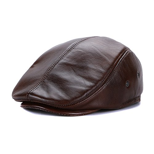 Sandy Brown Leather (Sandy Ting Vintage Cowhide Leather Cabby Hat Newsboy Walking Driving Cap(Brown,Large))