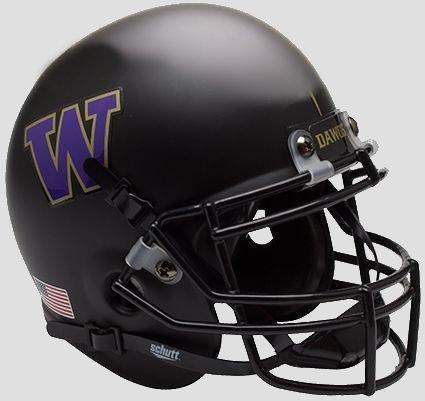 Washington Huskies Matte Black Schutt Mini (Huskies Authentic Mini Helmet)