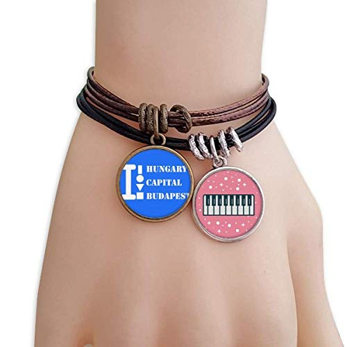 - OFFbb-USA Hungary Capital Budapest Bracelet Rope Wristband Piano Key Music Charm