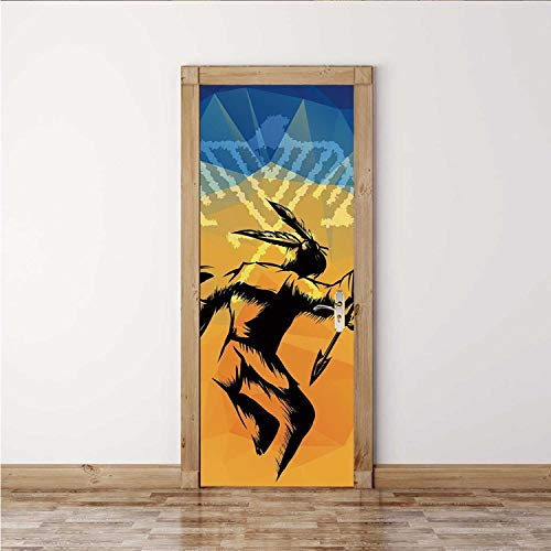 ALUONI Native American Decorative Door Sticker,War Dance Ritual Against Ancient Totem Poly Effect Triangles Abstract,2PCS/Set(15''W x 78''H)
